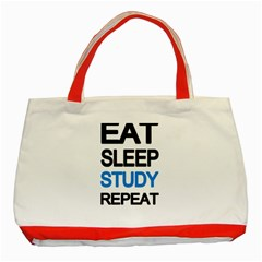 Eat Sleep Study Repeat Classic Tote Bag (red) by Valentinaart