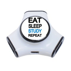 Eat Sleep Study Repeat 3 Port Usb Hub by Valentinaart