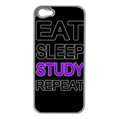 Eat Sleep Study Repeat Apple Iphone 5 Case (silver) by Valentinaart