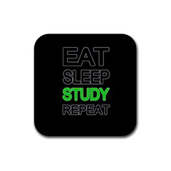 Eat Sleep Study Repeat Rubber Square Coaster (4 Pack)  by Valentinaart