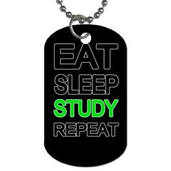 Eat Sleep Study Repeat Dog Tag (two Sides) by Valentinaart
