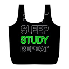 Eat Sleep Study Repeat Full Print Recycle Bags (l)  by Valentinaart