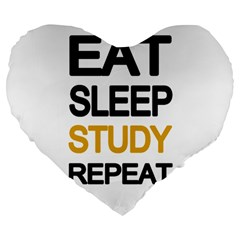 Eat Sleep Study Repeat Large 19  Premium Heart Shape Cushions by Valentinaart
