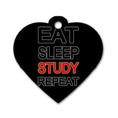 Eat Sleep Study Repeat Dog Tag Heart (two Sides) by Valentinaart
