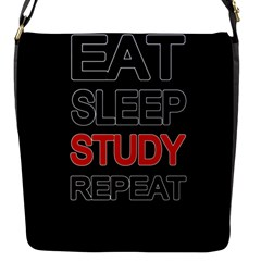 Eat Sleep Study Repeat Flap Messenger Bag (s) by Valentinaart