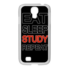 Eat Sleep Study Repeat Samsung Galaxy S4 I9500/ I9505 Case (white) by Valentinaart