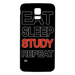 Eat Sleep Study Repeat Samsung Galaxy S5 Back Case (white) by Valentinaart