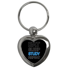Eat Sleep Study Repeat Key Chains (heart)  by Valentinaart