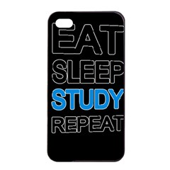 Eat Sleep Study Repeat Apple Iphone 4/4s Seamless Case (black) by Valentinaart