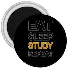 Eat Sleep Study Repeat 3  Magnets by Valentinaart