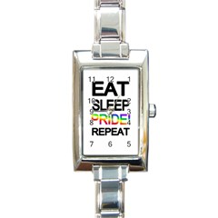 Eat Sleep Pride Repeat Rectangle Italian Charm Watch by Valentinaart