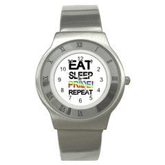 Eat Sleep Pride Repeat Stainless Steel Watch by Valentinaart
