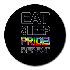 Eat Sleep Pride Repeat Round Mousepads by Valentinaart