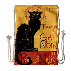 Black Cat Drawstring Bag (large) by Valentinaart