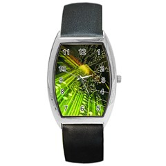 Electronics Machine Technology Circuit Electronic Computer Technics Detail Psychedelic Abstract Pattern Barrel Style Metal Watch