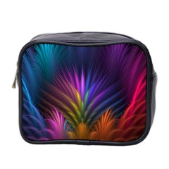 Colored Rays Symmetry Feather Art Mini Toiletries Bag 2-Side