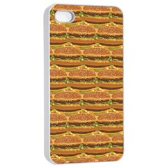 Delicious Burger Pattern Apple Iphone 4/4s Seamless Case (white) by berwies