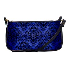 Damask1 Black Marble & Blue Brushed Metal (r) Shoulder Clutch Bag by trendistuff