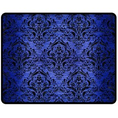 Damask1 Black Marble & Blue Brushed Metal (r) Fleece Blanket (medium) by trendistuff