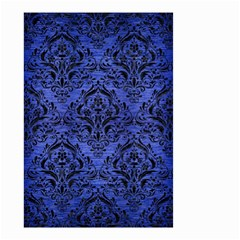 Damask1 Black Marble & Blue Brushed Metal (r) Small Garden Flag (two Sides) by trendistuff