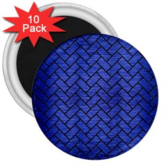 Brick2 Black Marble & Blue Brushed Metal (r) 3  Magnet (10 Pack) by trendistuff