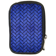 Brick2 Black Marble & Blue Brushed Metal (r) Compact Camera Leather Case by trendistuff