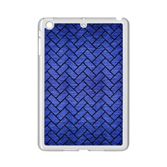 Brick2 Black Marble & Blue Brushed Metal (r) Apple Ipad Mini 2 Case (white) by trendistuff