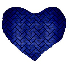 Brick2 Black Marble & Blue Brushed Metal (r) Large 19  Premium Flano Heart Shape Cushion by trendistuff