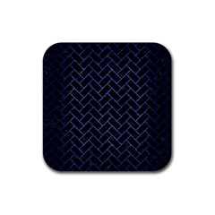Brick2 Black Marble & Blue Brushed Metal Rubber Coaster (square) by trendistuff