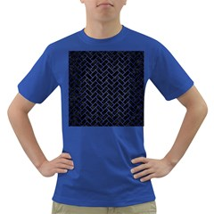 Brick2 Black Marble & Blue Brushed Metal Dark T Shirt by trendistuff