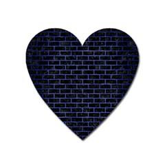 Brick1 Black Marble & Blue Brushed Metal Magnet (heart) by trendistuff