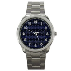 Brick1 Black Marble & Blue Brushed Metal Sport Metal Watch by trendistuff