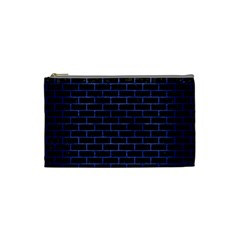 Brick1 Black Marble & Blue Brushed Metal Cosmetic Bag (small) by trendistuff