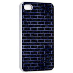 Brick1 Black Marble & Blue Brushed Metal Apple Iphone 4/4s Seamless Case (white) by trendistuff