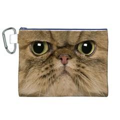Cute Persian Catface In Closeup Canvas Cosmetic Bag (XL)