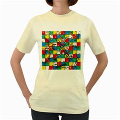 Snakes And Ladders Women s Yellow T-Shirt by Gogogo
