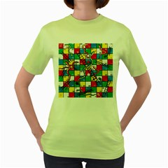 Snakes And Ladders Women s Green T-Shirt by Gogogo