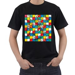 Snakes And Ladders Men s T-Shirt (Black) (Two Sided) by Gogogo