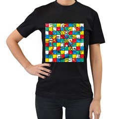 Snakes And Ladders Women s T-Shirt (Black) (Two Sided) by Gogogo