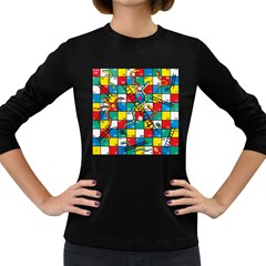 Snakes And Ladders Women s Long Sleeve Dark T-Shirts by Gogogo