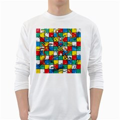 Snakes And Ladders White Long Sleeve T-Shirts by Gogogo