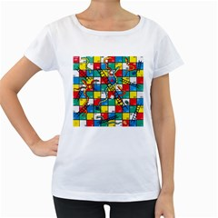 Snakes And Ladders Women s Loose-Fit T-Shirt (White) by Gogogo