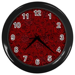 Red Roses Field Wall Clocks (black)