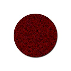 Red Roses Field Rubber Coaster (round)