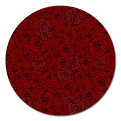 Red Roses Field Magnet 5  (round)