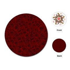 Red Roses Field Playing Cards (round)