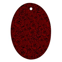 Red Roses Field Oval Ornament (two Sides)