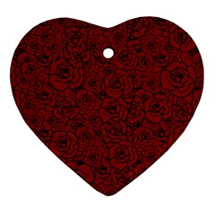 Red Roses Field Heart Ornament (two Sides)