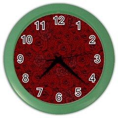 Red Roses Field Color Wall Clocks