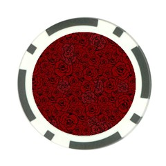 Red Roses Field Poker Chip Card Guard